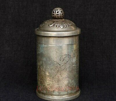 Collection China Copper Silver Carving Inlay Kylin Dragon Toothpick Bucket Boxes