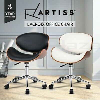 Artiss Office Chair Gaming Computer Chair Wooden Chairs PU Leather Black White