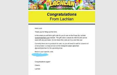 $215 Power by Lachlan gift code not used