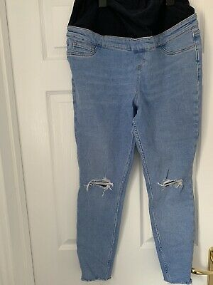 'New Look' Over The Bump Ripped Maternity Jeans - Size 14R