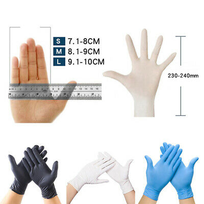 100pc Disposable Gloves Powder Free Clear Blue Black Nitrile Vinyl Latex Medical