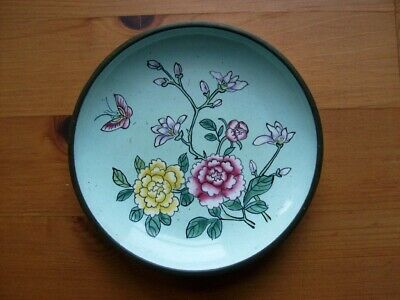 An Antique Chinese Porcelain Enamel On Copper Saucer / Small Plate VGC