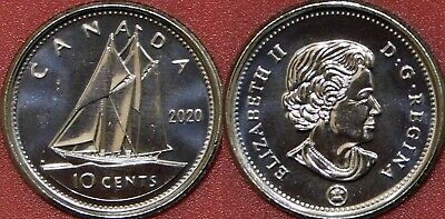 Brilliant Uncirculated 2020 Canada 10 Cents From Mint's Roll