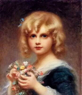 Oil painting edouard cabane - girl with flowers lovely and cute little girl art