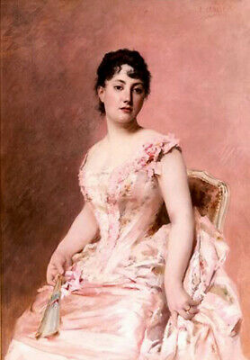 Oil painting edouard cabane - lady in pink noble lady woman with fan seated art