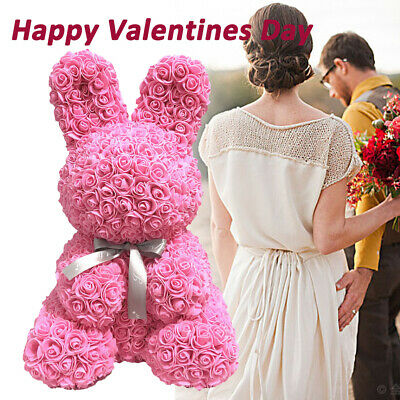 Lovely Rose Rabbits Doll Foam Flowers Rose Girl's Gifts Wedding Valentine's Day