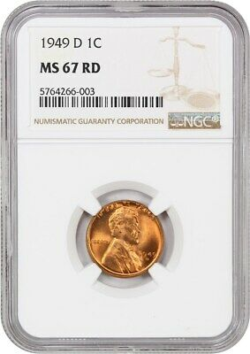1949-D 1c NGC MS67 RD - Lincoln Cent