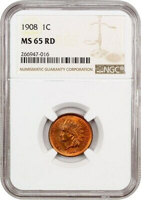 1908 1c NGC MS65 RD - Indian Cent