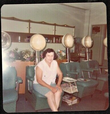 Vintage Photograph Woman by Dryers in Old Time Hair Salon Beauty Parlor