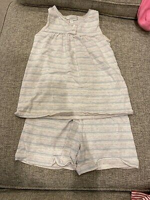 New The Little White Company Girls Summer Pyjamas Grey Stripe Age 7-8 Years