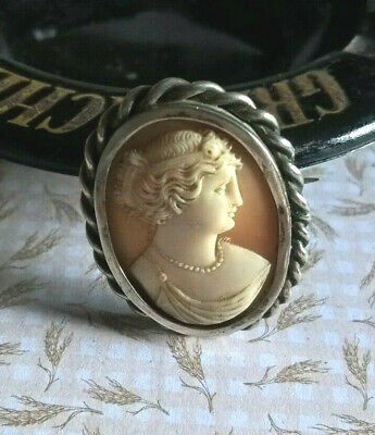 Antique Broche Argent Camee Veritable Lady