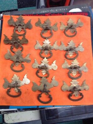 lot of 12 Vintage Chippendale Brass Drawer Pulls Bail Bat Wings, antique brass