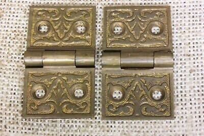 "2 old Hinges door interior shutter decorated Brass 1 1/4 x 2 1/8"" 1880 vintage"