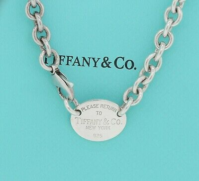 Please Return To Tiffany & Co Sterling Silver Oval Tag Necklace + Pouch box
