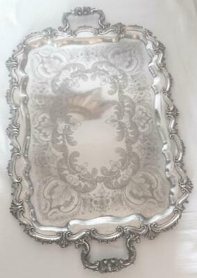 Very Large Antique Rococo Style Silver Plated Butlers Tray 1890'S