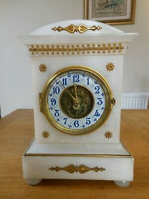 Antique Eugene Farcot  Skeleton White Marble and Gilt Mantle Clock Circa 1870