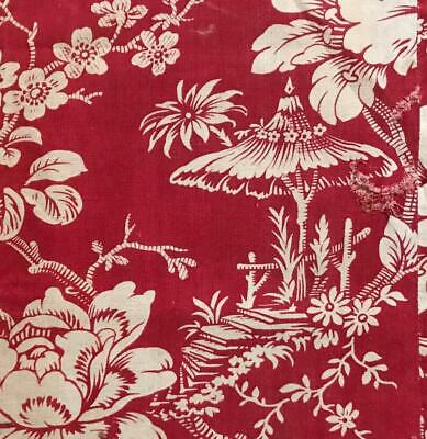 BEAUTIFUL LATE 19th CENTURY FRENCH LINEN COTTON INDIENNE PARASOL FLOWERS 657