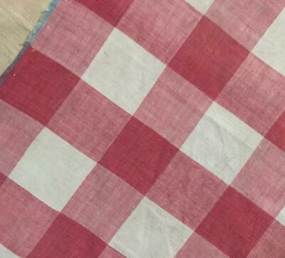 BEAUTIFUL 19th CENTURY FRENCH FINE LINEN COTTON PINK VICHY CHECK 660