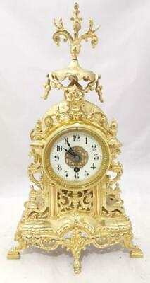 Antique Mantle Clock French Lovely 1880s Pierced Gilt Bronze Single Train