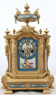 Antique Mantle Clock French Stunning Sevres & gilt Metal 8 Day Bell Striking
