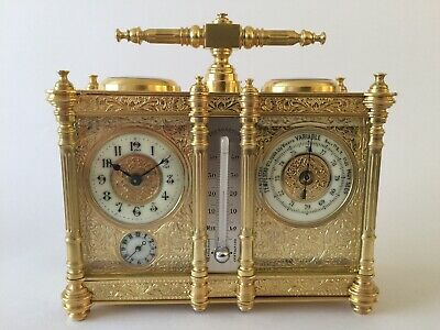 Rare Antique Compendium Carriage Clock / Barometer With Thermometer And Compass.