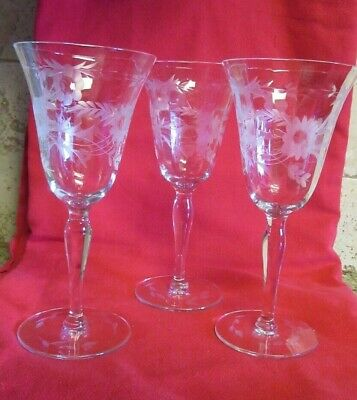 Set of 3 Etched Crystal Wine Goblet