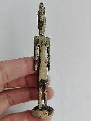 Ancient Phoenician Style Statue Bronze Antique Figurine Rare Solid Old Handmade