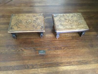 Antique Unusual Pair English Victorian Hand Carved Oak Footstools C 1880s Approx