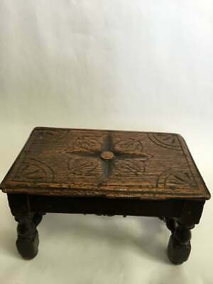 Antique English Victorian Hand Carved Oak Footstool W/Turned Feet,Stretchers,Leg