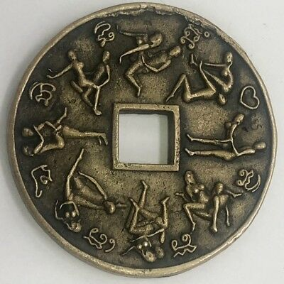 Antique Chinese Charm Copper Coin Pendant Erotic Couple Very Rare 18th C Qing