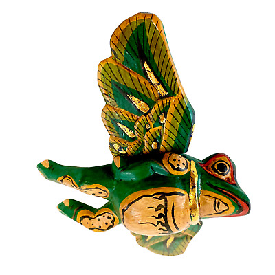 FLYING Frog Mobile winged Toad hand carved wood Balinese Folk Art green 6""