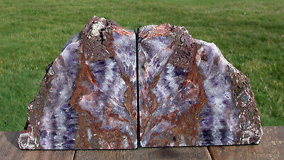 SiS: ROCKING ROYAL PURPLE Chevron Amethyst Crystal Bookends GORGEOUS COLOR!
