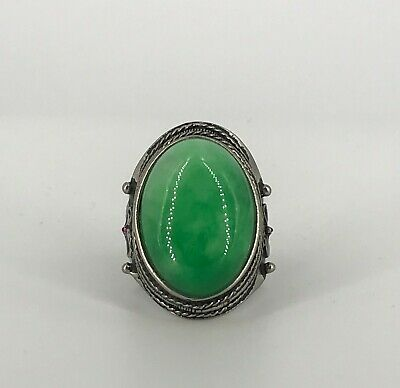 Chinese Solid Silver and Green Jade Stone Ring - China 20th Century