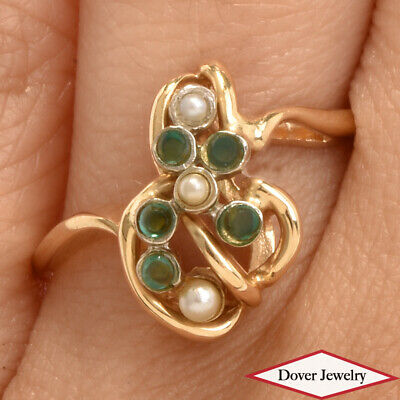 Vintage Emerald Seed Pearl 14K Yellow Gold Cluster Open Ring NR