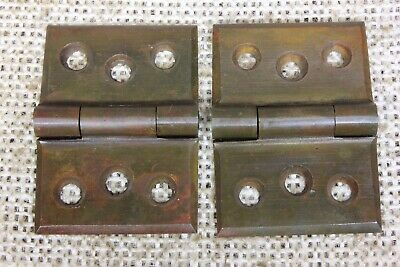 "2 interior shutter Hinges door vintage old cast brass 1 1/4 x 1 3/4"" bevel edge"