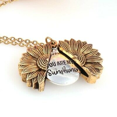 """You Are My Sunshine ""Open Locket Sunflower Fashion Pendant Necklace Women Gift"