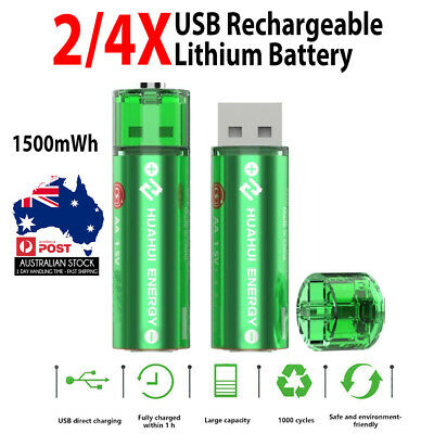 2/4X HUAHUI Micro USB Rechargeable Lithium 1500mWh AA Battery 1.5V 1000+ Cycle