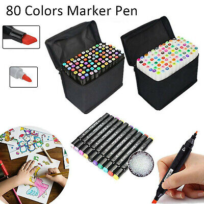 Markers 40/80 Colours Graphic Drawing Painting Alcohol Art Dual Tip Sketch Pens