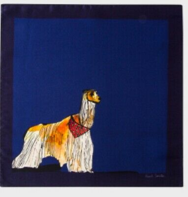 PAUL SMITH Mens DOG  100% silk pocket square handkerchief Blue