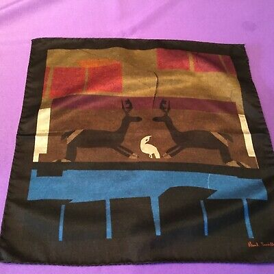 NEW Paul Smith Pocket Square Handkerchief Silk and  Cashmere DEER DESIGN