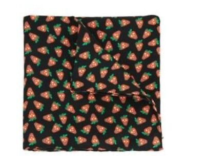 NEW Paul Smith Pocket Square Handkerchief BLACK STRAWBERRY SKULL