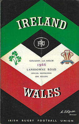 IRELAND v WALES 12 Mar 1966 RUGBY PROGRAMME, LANSDOWNE RD, DUBLIN, 5 NATIONS