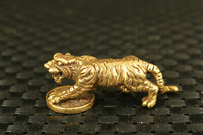 old chinese bronze hand casting tiger statue tea pet fortune decoration collect