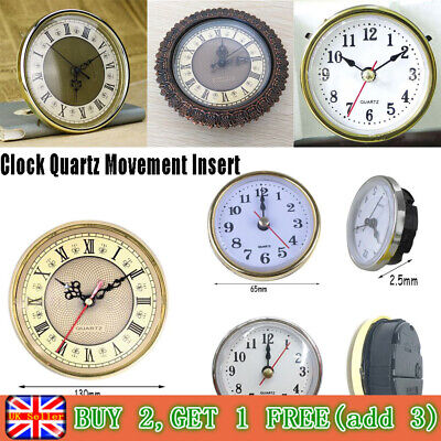 "*New Shellhard 2-1/2"" (65mm) Clock Insert Roman Numeral White Face Gold Trim*"