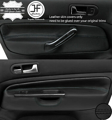 BLACK STITCH 2X DOOR CARD TRIM LEATHER COVERS FITS SMART ROADSTER 452 03-05