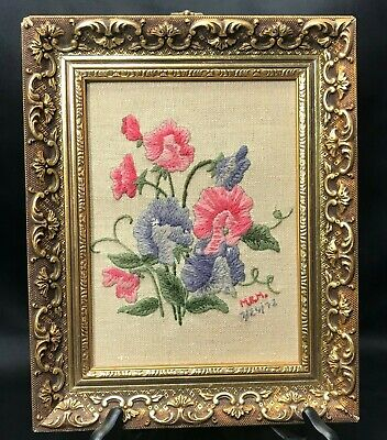 Vintage Completed Finished Crewel Embroidery Gold Framed Flower of the Month
