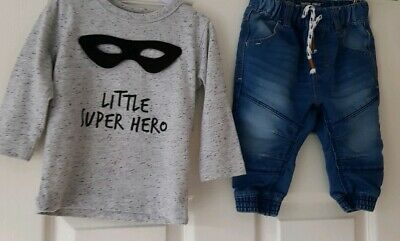 Next Baby Boy Outfit Jeans Long Sleeve Top 6-9 Months