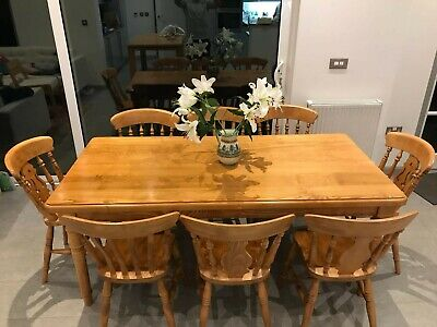 Quality farmhouse dining table + 8 chairs. Beautiful, elegant, solid beech wood!