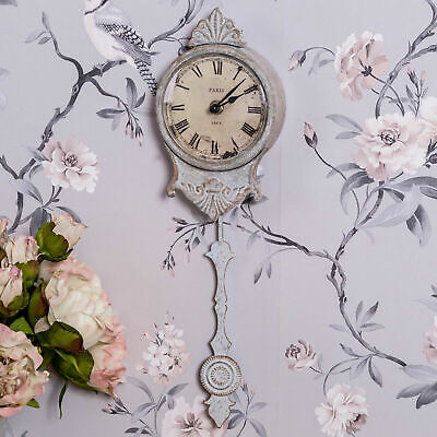 Cream Pendulum Clock Wall Mounted Roman Numerals Ornate Vintage Chic Home