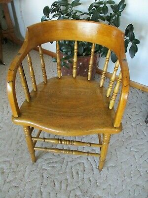 Vintage Firehouse Captain Bow Smoking Chair Antique Solid Wood
